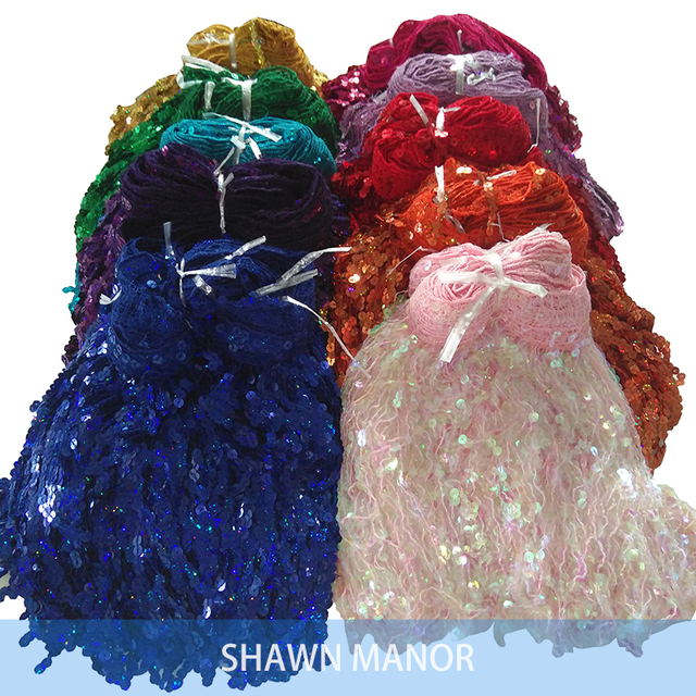 29CM Sequined Fringe Trimming Lace With Laser For DIY Sewing Latin Dance Dress 15Yards 12 Colors Available