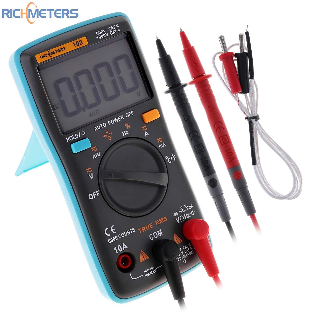 RICHMETERS RM102 Multimeter AC / DC Ammeter 6000 Counts Voltmeter Ohm Frequency Diode with Temperature Test Function