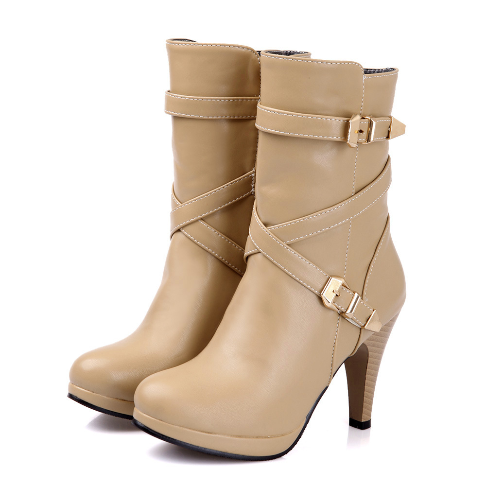 ФОТО ARMOIRE Hot Sexy Black Apricot High Heels Women Mid Calf Boots Ladies Winter Shoes Zip A580A Plus Big Size 4 12 47