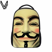 VEEVANV 2019 New V For Vendetta Guy Fawkes Backpacks Evil Gas Mask Printing Bags Children Backpacks For Teenager School Bags Kid