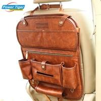 Genuine Leather Car Back Seat Organizer Pockets Folding Backseat Hanging Holder Storage Bags Car Tissue Bag