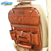 Genuine Leather Car Back Seat Organizer Pockets Folding Backseat Hanging Holder Storage Bags Car Tissue Bag