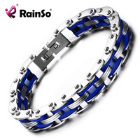 2016 RainSo Stainless Steel Men S Bracelets With Silicone Blue Green Color Simple Casual Style Man