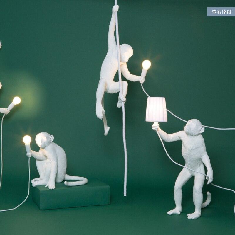 Postmodern Industrial White Monkey Lamp Resin Lighting Children Room Black Monkey Lights Wall Lamp Hanging Luminaire Home Decor|Floor Lamps| |  - title=