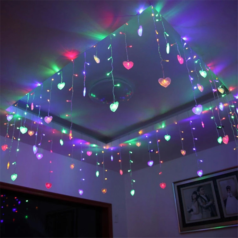 Trecaan 3.5M Hearts Shape LED String Curtain Light For Christmas Wedding Party Decoration Chandelier Luminarias 220V/110V ...
