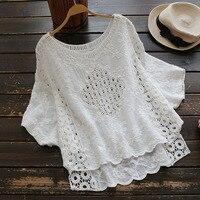 Vintage Harajuku Hippie Boho Retro Bohemian Mori Girl White Lace Hollow Embroidered Linen Cotton Shirt Spring Top Women Blouse