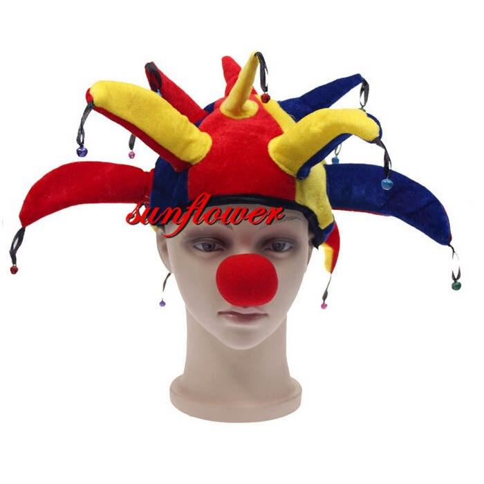 Nuevo unisex sombrero de bufón y campanas disfraces adultos accesorio  divertido payaso divertido carnaval partido sombreros Navidad 1b38fb56597