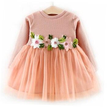 16498991d Invierno 3D flor niñas vestido niños ropa de manga larga vestidos de fiesta para  niña 2018