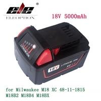 High Capacity 5000mAh 18V Li Ion Replacement Power Tool Battery For Milwaukee M18 XC 48 11