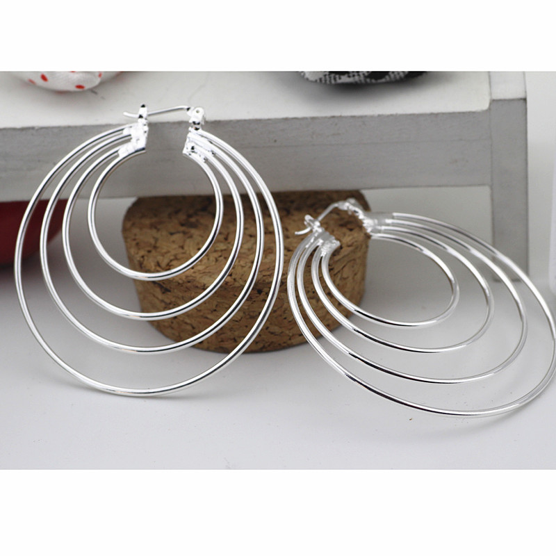 925 Sterling Silver Color Hoop Earring For Women Large Luxury Design Good Quality Vintage Wedding Jewelry Eh002(China)