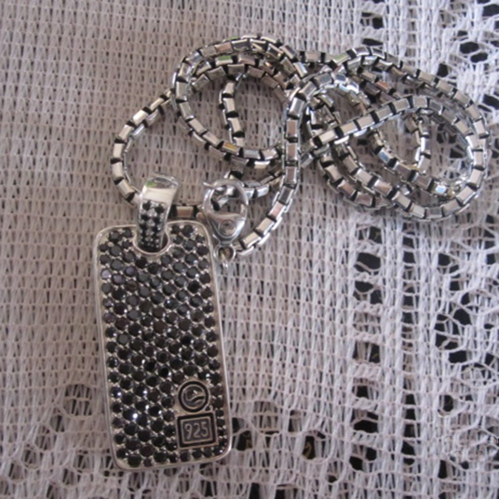 Твердые стерлингов серебряные ювелирные изделия шеврон черные бриллианты Dog Tag цепочки и ожерелья дизайн jewelry для мужчин's ожерелье с кулоно