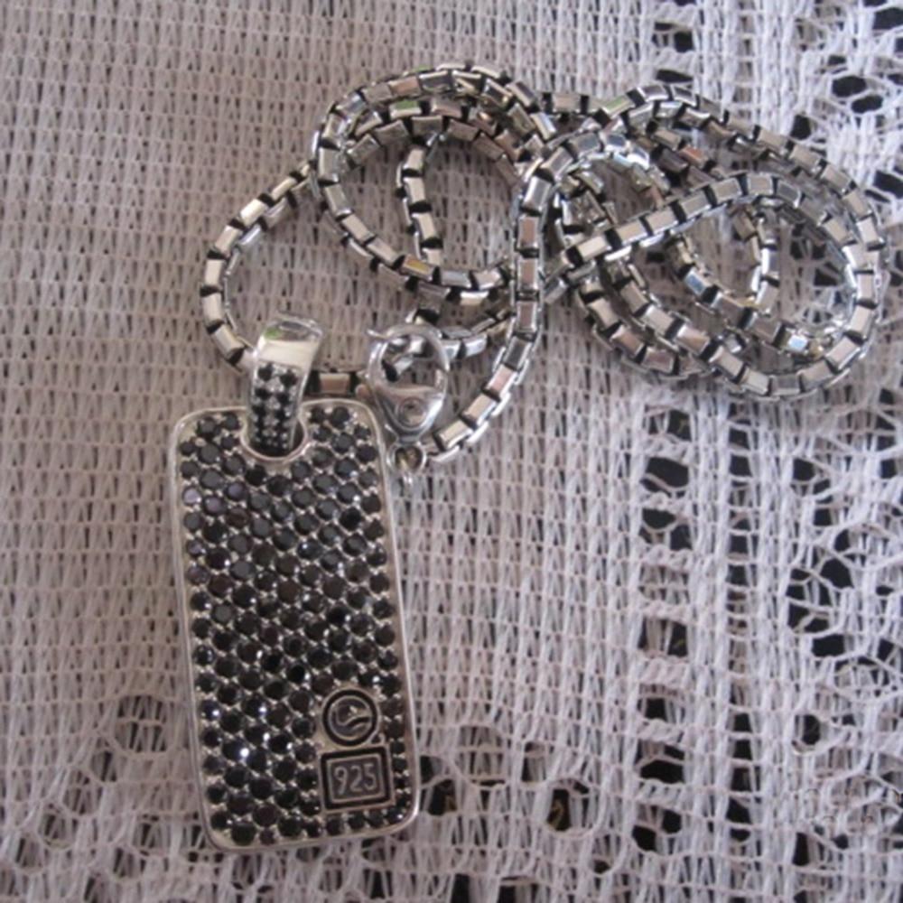 Bijoux en argent Sterling massif Chevron diamants noirs chien Tag collier Design bijoux hommes pendentif Neklace cadeaux de la fête des pères