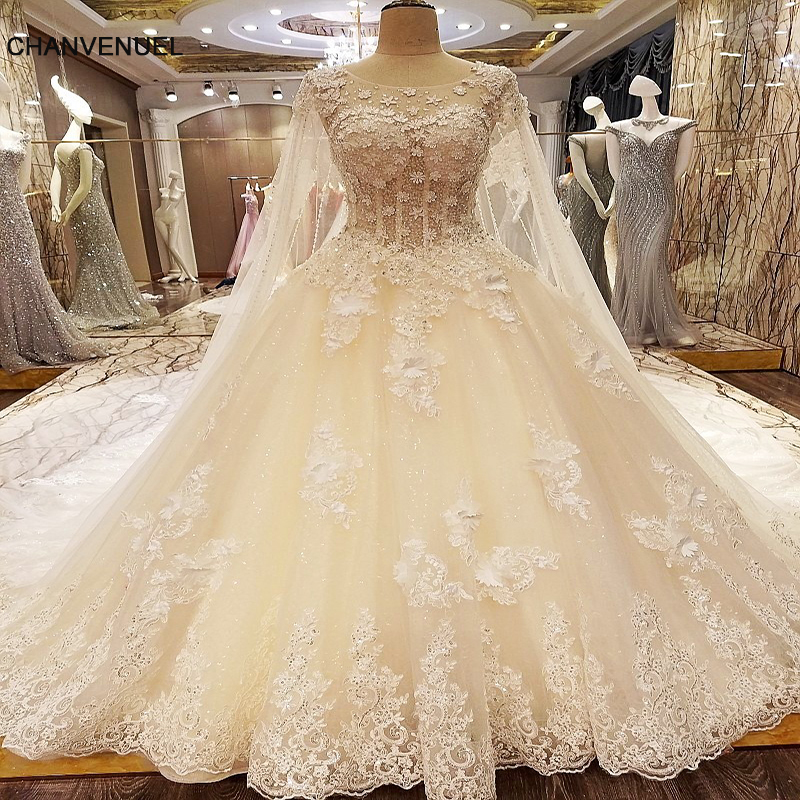 Ivory Lace Bodice Ball Gown Wedding Dress With Sheer Long: LS95314 Luxury Lace Wedding Dress With Long Cape Ball Gown