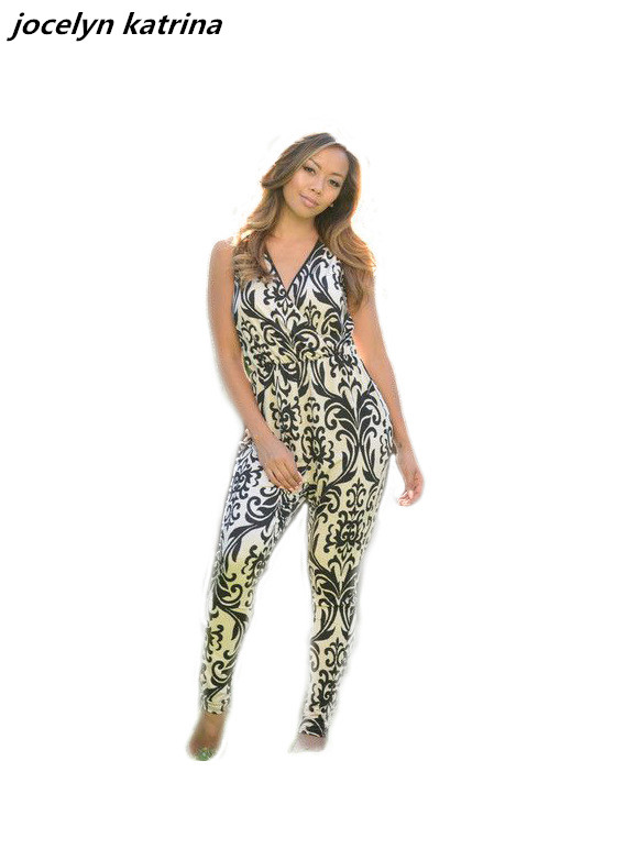 jocelyn katrina brand summer womens jumpsuits sexy bodycon print club v neck sleeveless jumpsuit fitness romper jumpsuits