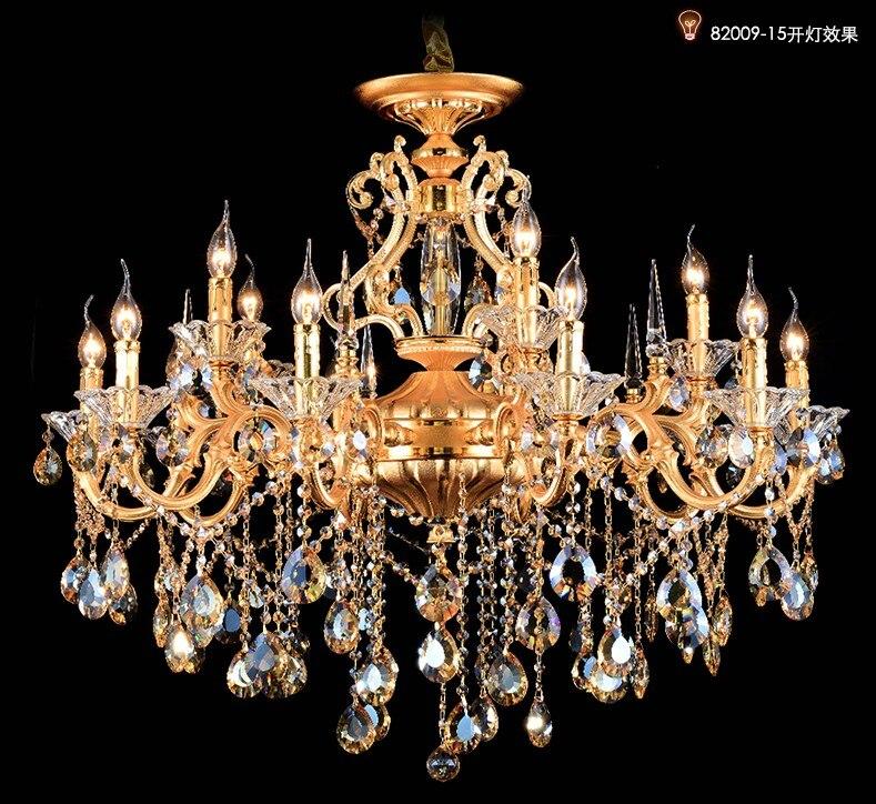 Living room Gold chandelier crystal pentants hotel chandeliers hanging lighting 15/18 pcs led candle holders Lampara De Techo|Chandeliers|Lights & Lighting - title=