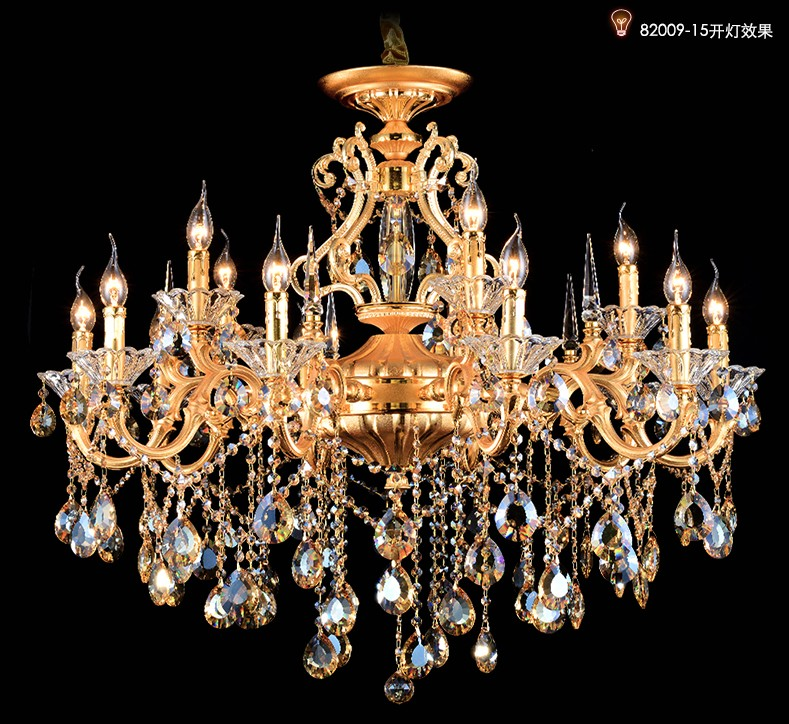 Living room Gold chandelier crystal pentants hotel chandeliers hanging lighting villa 15 18 pcs candle holders luxury chandelier 15 heads gold candle led fixture crystal hanging chandelier lighting hotel villa chandeliers living room k9 clear cristal lustre