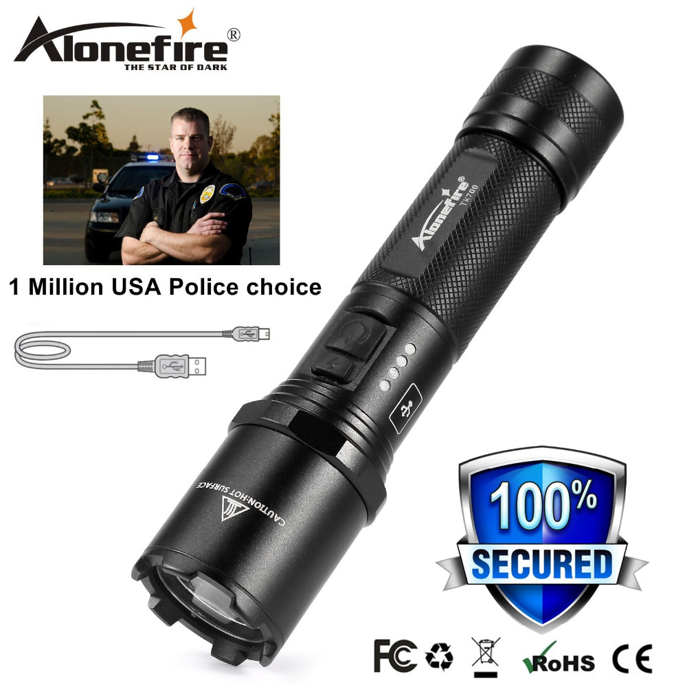 AloneFire TK700 CREE LED Police Flashlight Security and Self Defense Ultra Bright Torch Usb Rechargeable Tactical patrol Light