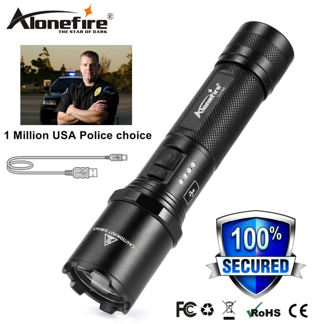 AloneFire TK700 CREE LED Flashlight for Security and Self Defense Ultra Bright Light Torch Usb rechargeable Police flashlight