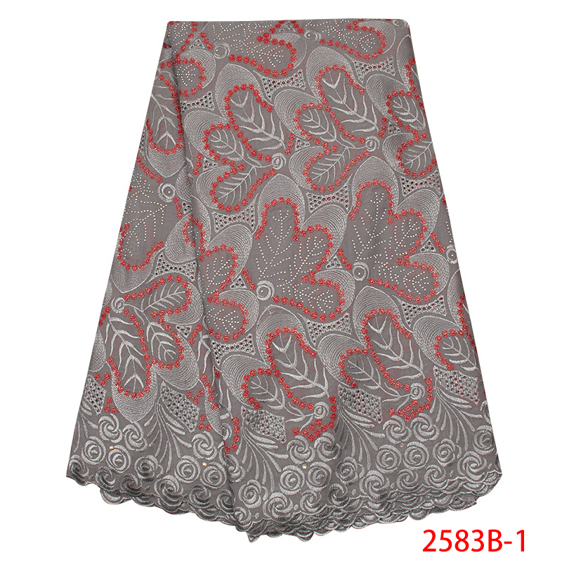 2019 African Swiss Voile Lace In Switzerland High Quality Swiss Voile Cotton Lace Fabric Embroidery Laces With Stones KS2583B-1