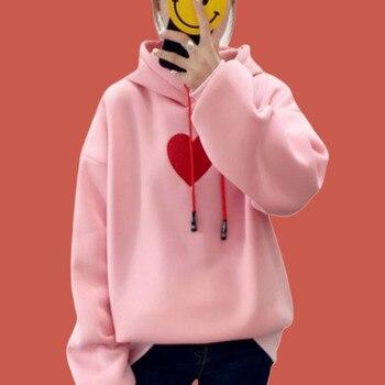 Korean Oversized Hoodie Winter Pullover Kawaii Sweatshirt Embroidered Women Heart Hoodie Print Poleron Mujer 2019 Lace Up Hoodie christmas digital print pullover hoodie