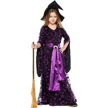 New Halloween Costumes Girls Witch Costume Long Dress and Hat Cap Party Cosplay Clothing for Kids Girl Children Print Vestido цена 2017