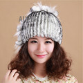 2017 Women Real Rex Rabbit Fur Cap Raccoon Fur Decorated Hat Firework Design Winter Warm Headwear Thick Colourful AU00643