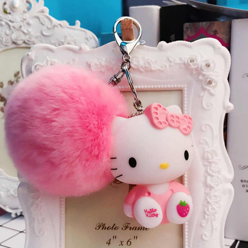 607a64f4a ... Cartoon Rabbit Fur Ball Cute Minions Hello Kitty Keychain Fur Pom Pom  Key Rings Women Car ...