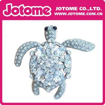Silver-tone Alloy Clear Rhinestone Crystal Turtle Tortoise Brooch Pin