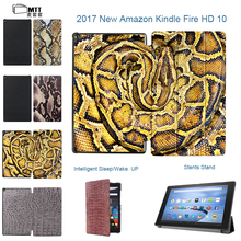 "MTT Print Snake Skin For Amazon Kindle Fire HD 10 2017 Tablet Case For Kindle Fire HD 10"" Smart Flip Leather Stand Cover Capa"