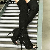Fashion black peep to strappy thigh high boots women thin high heel polish back zipper closure over the knee boot