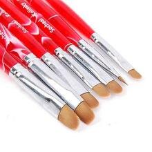 7pcs/set Hot Nail art French Manicure Brushes Uv Gel Sable Brush set Nail Art Brush