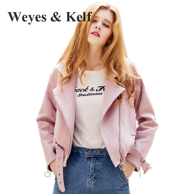 Weyes & Kelf Pink Ladies   Jacket   Zipper Short Suede Coat   Jacket   Women 2017 Autumn Reversible Baseball   Basic     Jacket   Coat Autumn