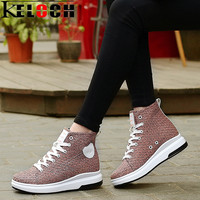 Keloch 2017 Summer Women Boots Flying Mesh Breathable High Heel Ankle Boots Ladies Casual Botas Platform