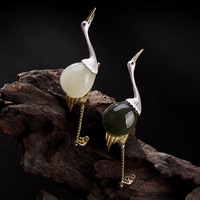 2019 Womens Fashion 100% 925 Solid Sterling Silver Natural Stone Red crowned Crane Flamingos Brooches For Women