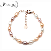 Real natural freshwater pearl bracelet for women,fashionable adjustable femme with