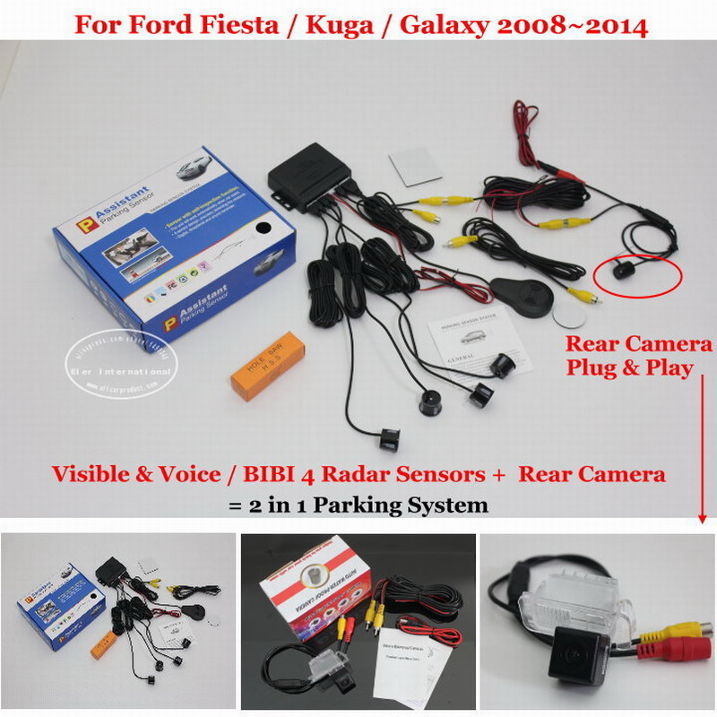 цена на Liislee For Ford Fiesta / Kuga / Galaxy - Car Parking Sensors + Rear View Back Up Camera = 2 in 1 Visual Alarm Parking System