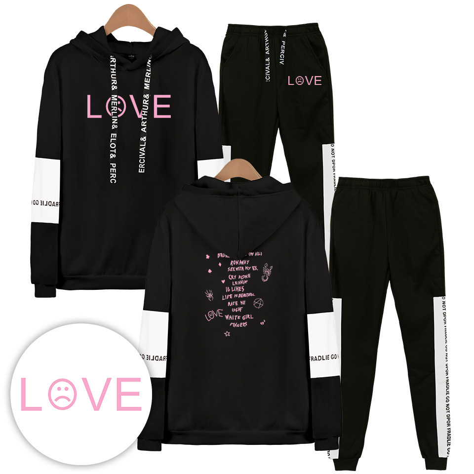 R.I.P Lil Peep LOVE Tracksuit 2 Pieces Set Men Sport Suit Long Sleeve Hooded Jacket And Pant Jogger Sweatpants Sweat Suits Male