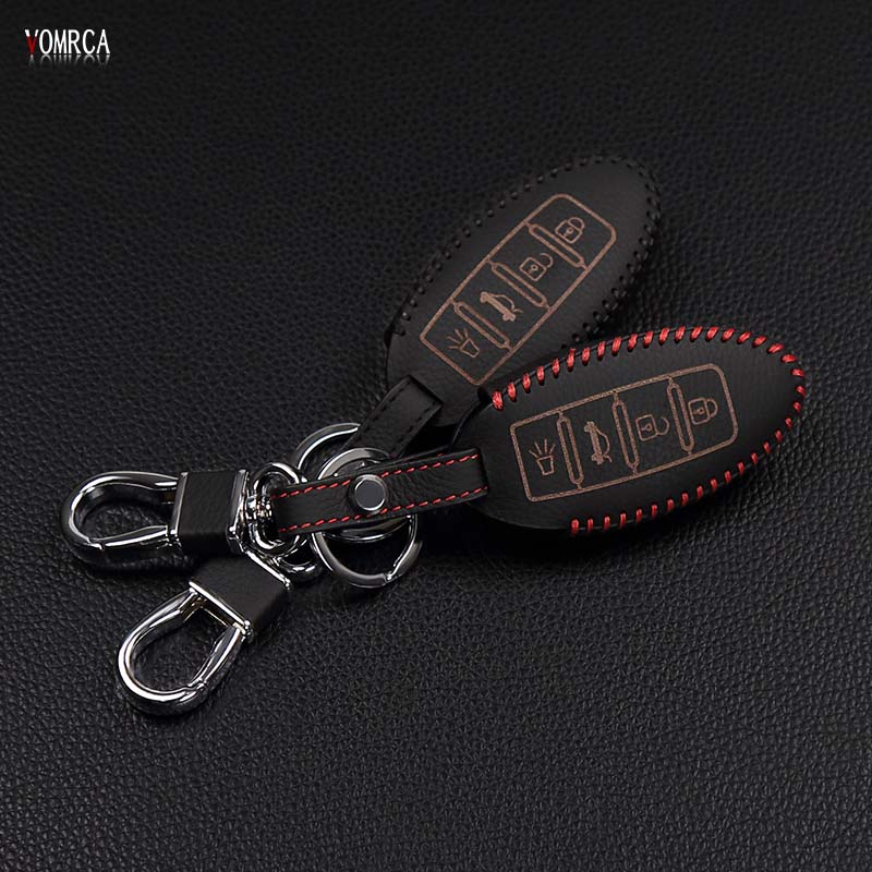 Hot sale top layer leather case car key cover for Nissan Altima Qashqai X-Trail T31 T32 Tiida Teana Juke 4 button remote control