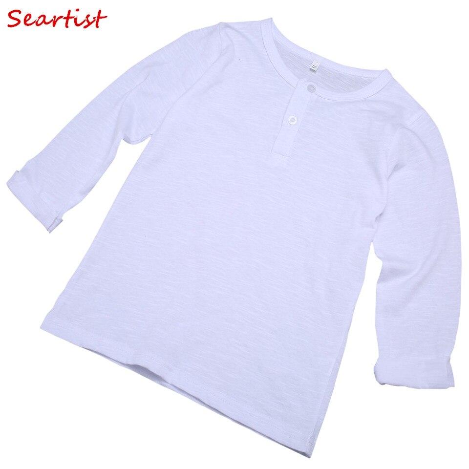 Seartist Baby Girls 100% Cotton T-shirt Girl Plain White Long-sleeved Top Tee Girls Spring Autumn Tshirt 2018 New Arrival 30