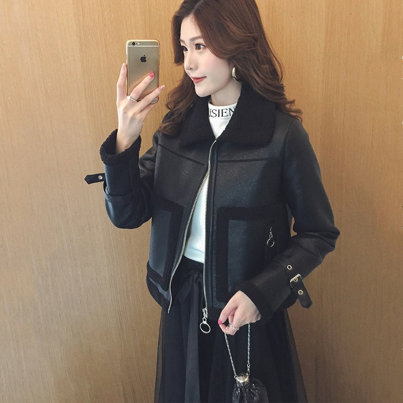 Autumn and winter fashion women's lapel PU   leather   lamb hair plus velvet thickening motorcycle clothing   leather   short coat TB181