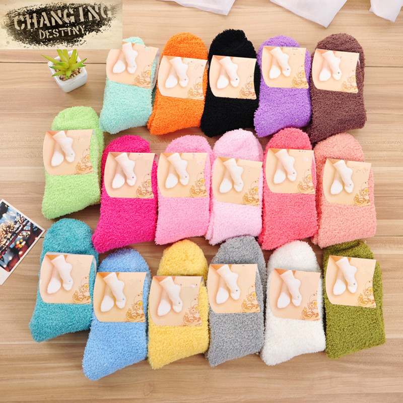14 Colors Female Terry   Socks   Winter Candy Color Girls   Socks   Fashion Casual Warm   Socks   Coral Fleece Keep Warm Women's   Socks