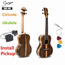 Ukulele 23 Inches Ciricote Mini Electric Concert Acoustic Travel Guitar 4 Strings Ukelele Guitarra Install Pickup Retro Matt цена 2017
