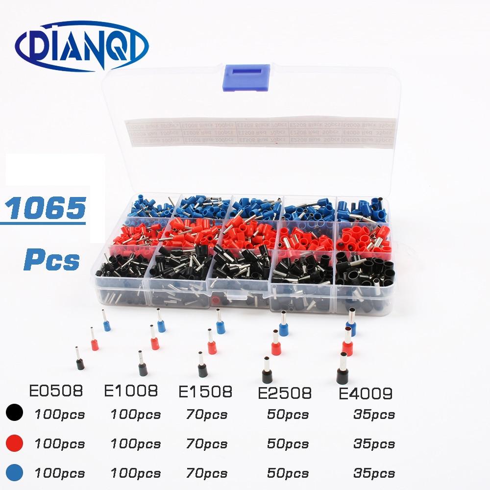 1065 unids/set 3 colores 22 ~ 12AWG de alambre de cobre de crimpado conector aislado cable Pin final Terminal de cordón cooper punteras kit conjunto de latón