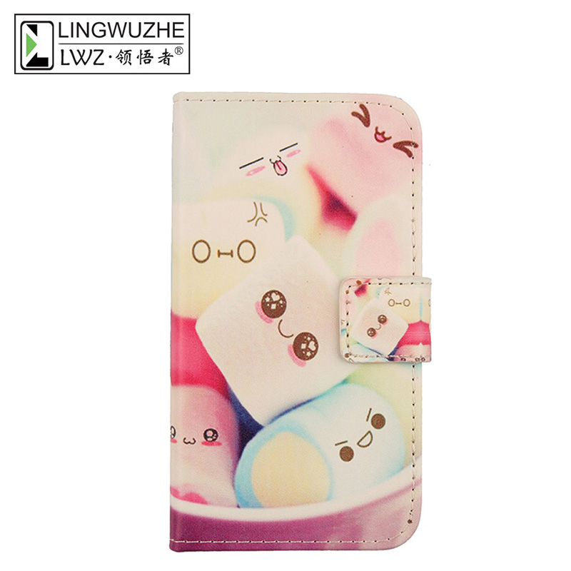 LINGWUZHE Minimalist Style PU Leather Cell Phone Case Waller Cover For Kogan Agora 8 Plus 5.5