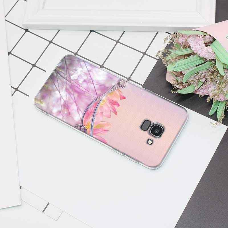 Transparente Caso de Telefone Silicone Macio Colorido rosa Flor De Lótus Para Samsung Galáxia j6 j3 j4 j5 j7 j8 Plus 2018 2017 Prime