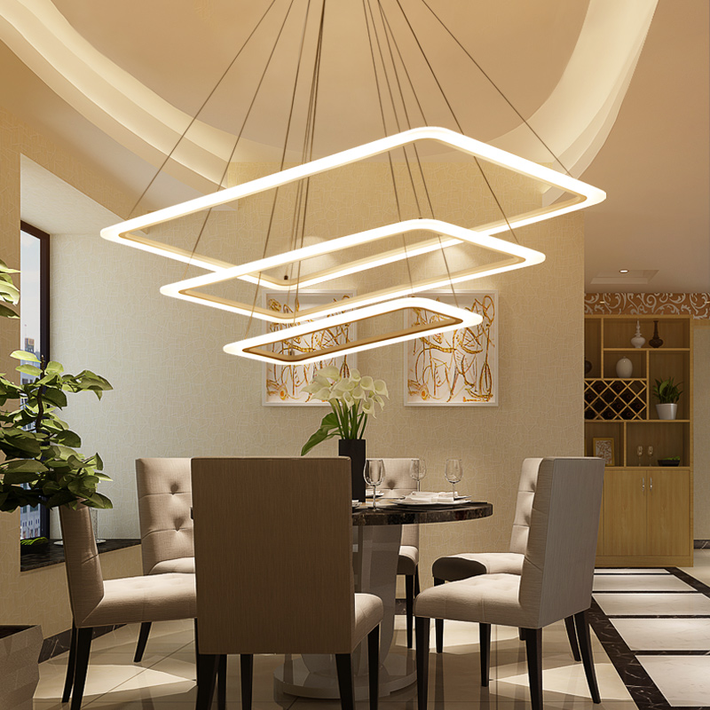 Rectangle modern led pendant lights for living room bedroom Acrylic White surface mounted pendant lamp suspension luminaire
