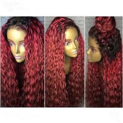 DLME Ombre Парик 180% Плотность синтетические волосы на кружеве парик с ребенком волос термостойкие афро кудрявый вьющиеся волосы
