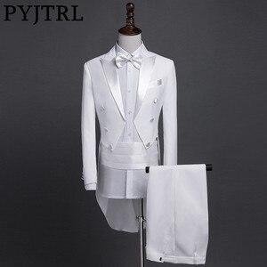 Image 1 - PYJTRL New Plus Size S 4XL Mens Classic Black White Shiny Lapel Tail Coat Tuxedo Wedding Groom Stage Singer Four Piece Suit