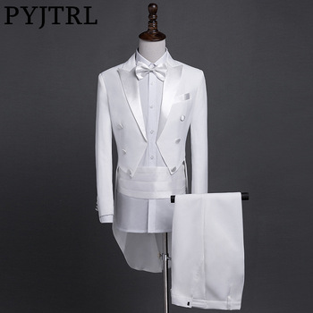 PYJTRL New Plus Size S-4XL Mens Classic Black White Shiny Lapel Tail Coat Tuxedo Wedding Groom Stage Singer Four Piece Suit Men's Suits