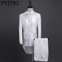 PYJTRL New Plus Size S 4XL Mens Classic Black White Shiny Lapel Tail Coat Tuxedo Wedding Groom Stage Singer Four Piece Suit
